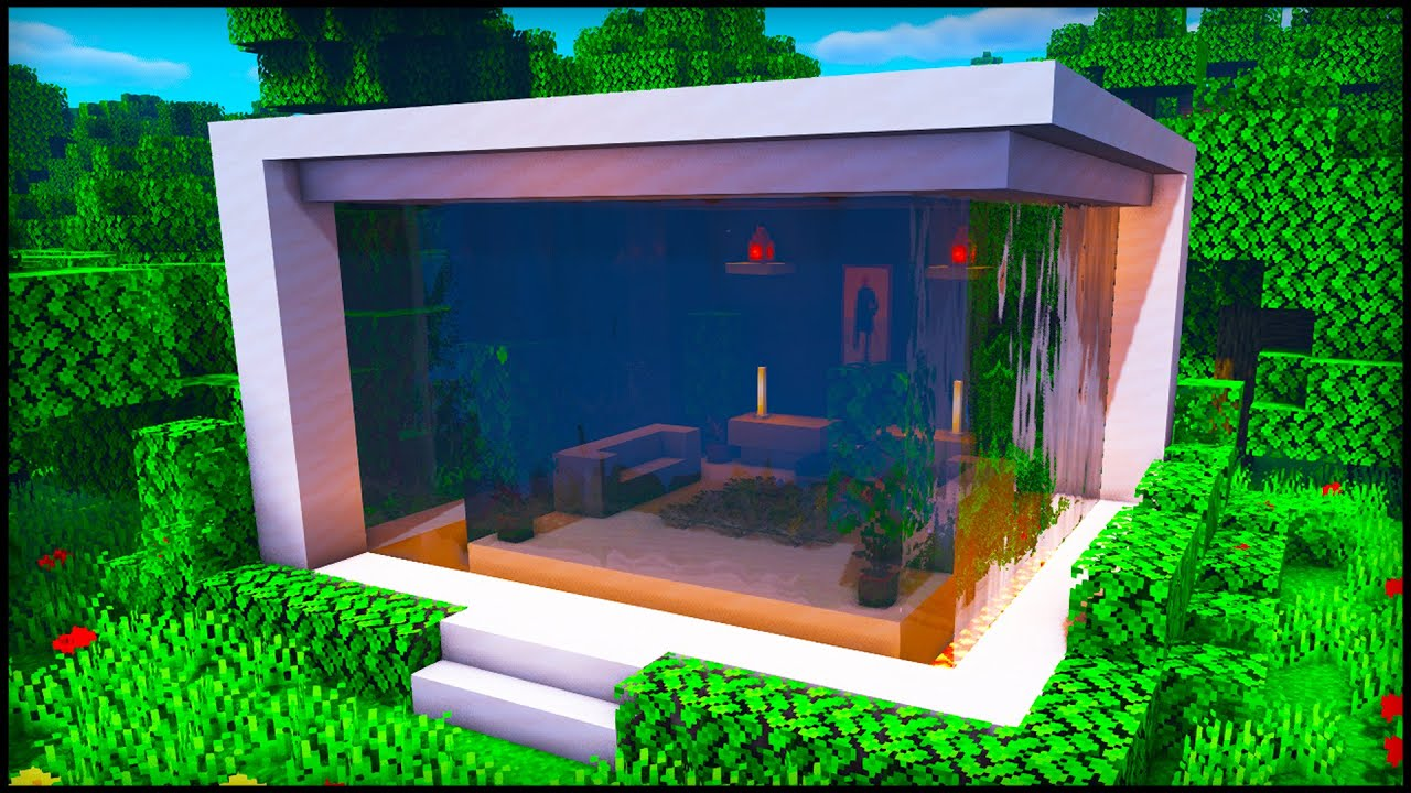 Minecraft Waterfall Modern House How To Build A Cool Modern House Tutorial Youtube