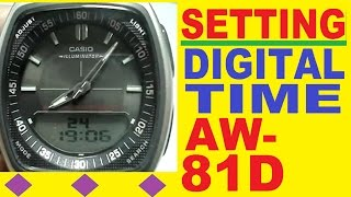 setting casio aw 81d digital time   casio aw 81 manual