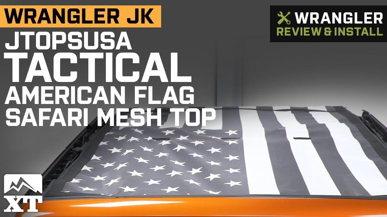 96062c07 JTopsUSA Jeep Wrangler Safari Mesh Top - Tactical American Flag  JKU-SAF-GRAPHIC-TACT (07-18 Jeep Wrangler JK 4 Door)