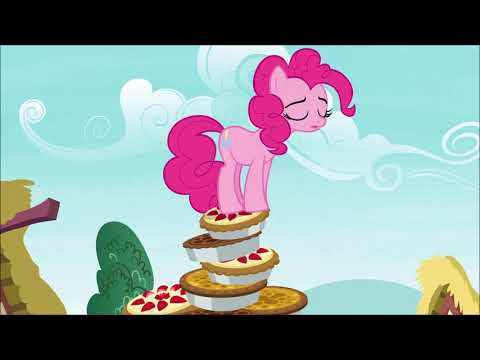 Rainbow Dash Helping Pinkie Pie Down From A Pie Pile