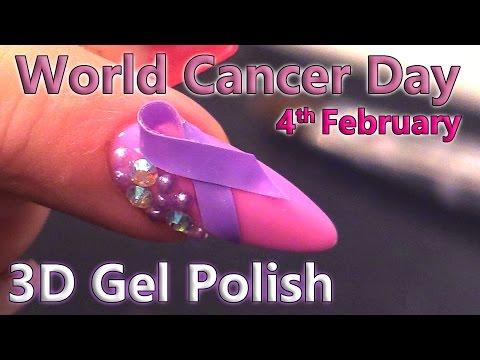 World Cancer Day - 3D Gel Polish Nail Art Design - 4th February 2017 - Tip and Acrylic Overlay