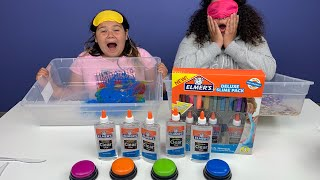 BLINDFOLDED Don't Push the Wrong Button Slime Challenge Izzy Cheated!!!