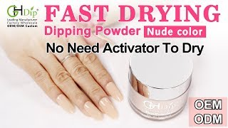 Nude Color Nails by Fast Drying Dip Powder System