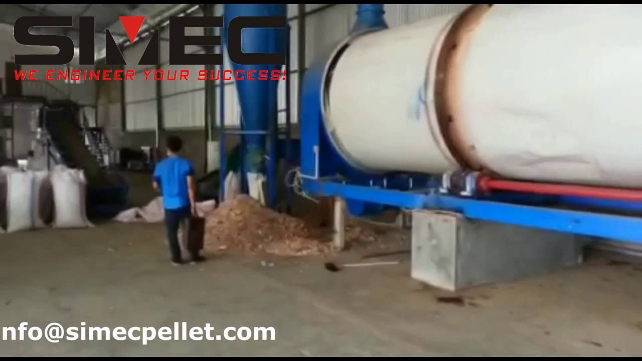 Simec rotary dryer working video bedding wood chip