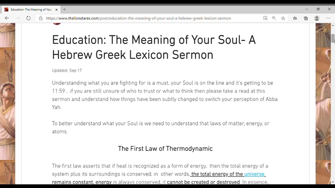 Education  The Meaning of Your Soul  A Hebrew Greek Lexicon Sermon