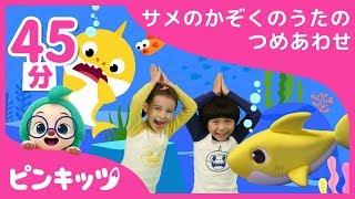 【45分連続】サメのかぞくの歌の詰め合わせ | ねんどサメのかぞくからサメのかぞく体操まで 楽しくBaby Shark doo doo doo doo doo | どうぶつのうた | ピンキッツ童謡
