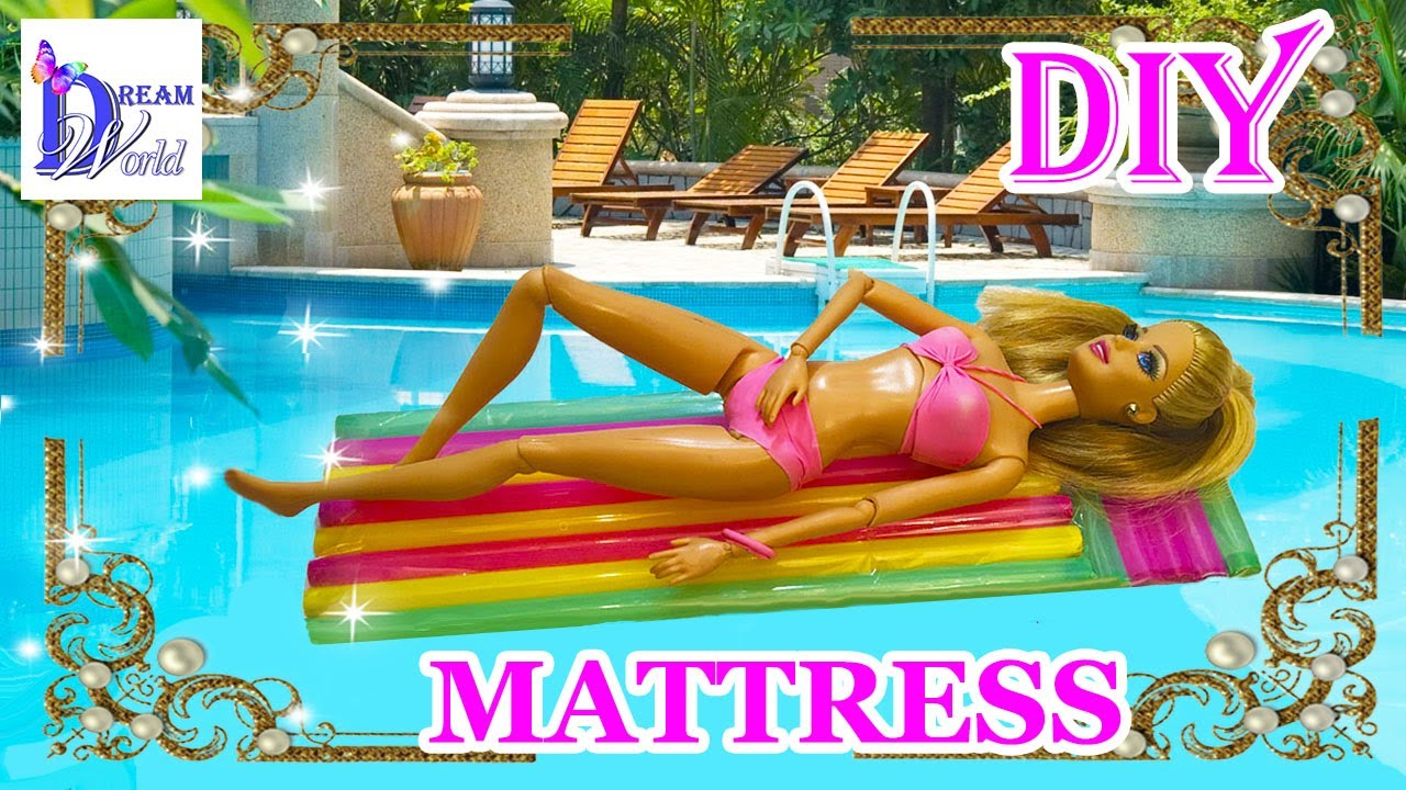 How To Make A Doll Pool Mattress Swimming Pool Float Summer Easy Diy Doll Crafts Youtube