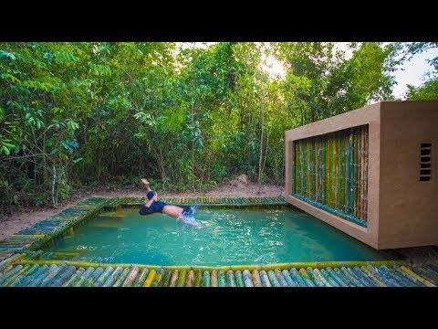 Building the Most Stunning Bamboo Jungle House Swimming Pool by Ancient Skills