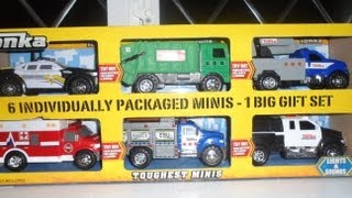 My Best Top 6 TONKA Toys inc GARBAGE TRUCK, POLICE CAR, AMBULANCE, CHERRY PICKER and TOW TRUCK