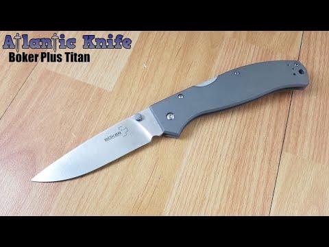 BOKER PLUS TITAN DROP LOCKBACK 440C TITANIUM FOLDING POCKET KNIFE - P01BO188