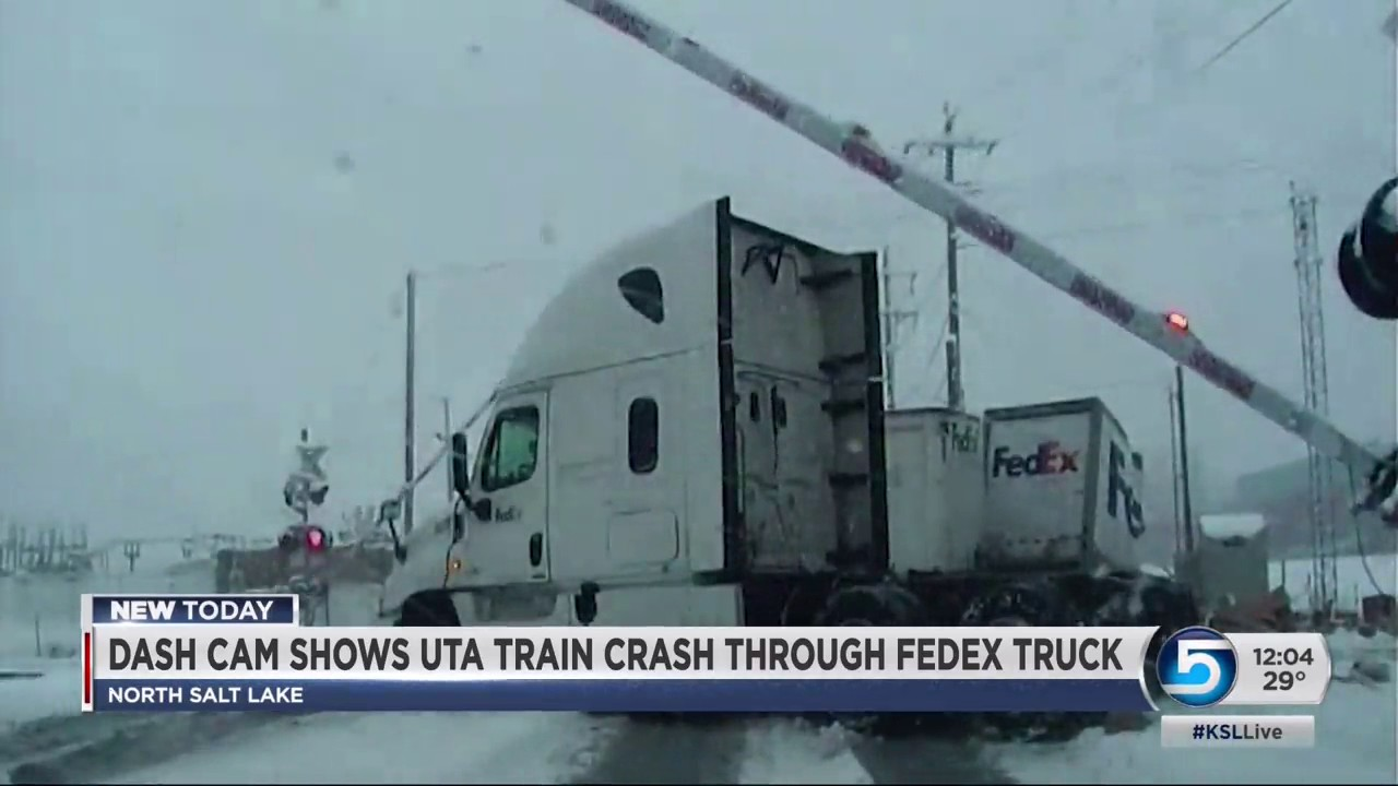 A video is released of an accident involving a FrontRunner train and a  FedEx truck