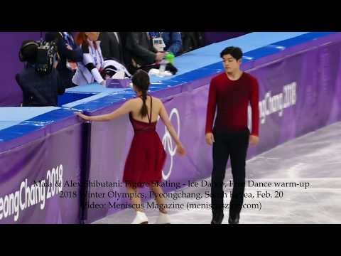 Maia & Alex Shibutani: Ice Dance Figure Skating Free Dance warm-up - 2018 Winter Olympics