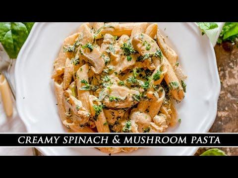 The HEALTHIEST Creamy Pasta | Creamy Spinach & Mushroom Pasta