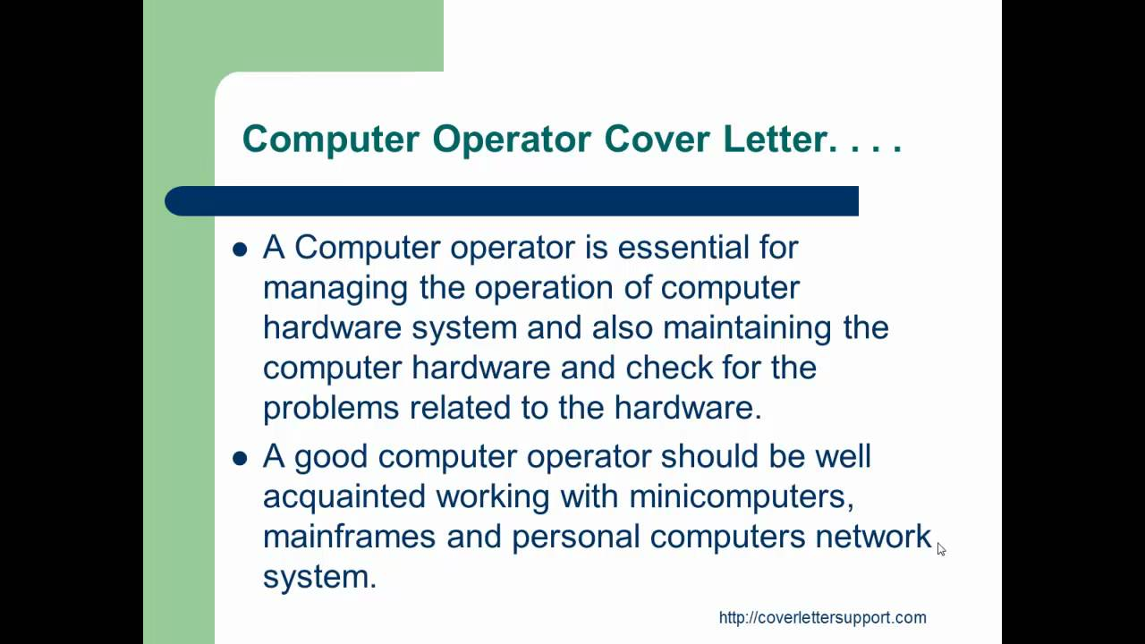 Computer operator cover letter youtube yadclub Images
