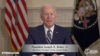 President Joe Biden speaks to transgender people at the NCTE Trans Equality Now Awards