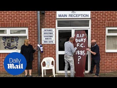 Former director of Bury FC handcuffs herself to club entrance