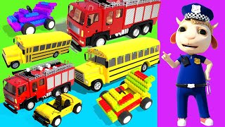 Dolly and Kids pretend play with Red Fire Truck Toy and Cars | Christmas mysterious adventures #327