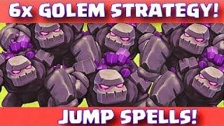 "Town hall 10 | 3 star | 6 golem 4 jump strategy""clan war""clash of clans"