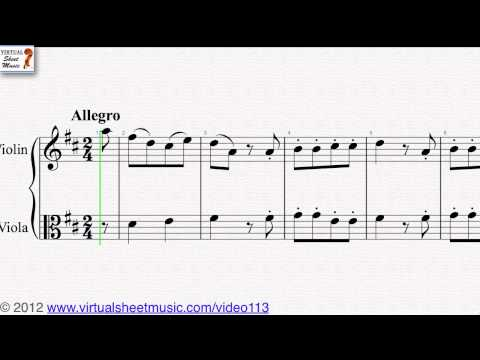 Wolfgang Amadeus Mozart's, Easy Duets, Duets No. 1 Violin and Viola sheet music - Video Score