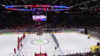 Finland sings their national anthem after a 1-0 win over Russia