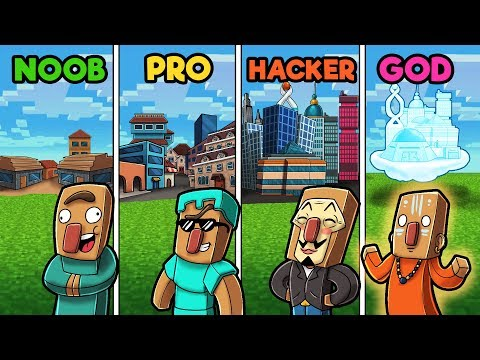 Minecraft - NOOB vs PRO vs GOD vs HACKER - VILLAGE!