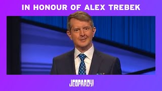 Ken Jennings Honors Alex Trebek In His First Episode as Guest Host | JEOPARDY!