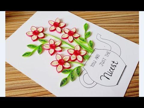 DIY Paper quilling Flower Card Design 34// Quilling Flower // Paper Craft