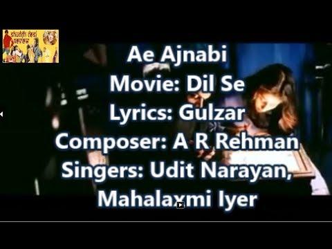 Ae Ajnabi Dil Se Lyrics English Translation (No Music)