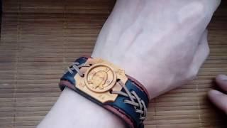 Православный браслет из кожи и дерева  Обзор#37