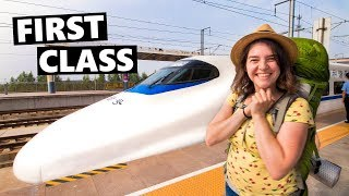 WOW! FIRST CLASS 300 Km/Hour Chinese BULLET TRAIN To Xi'an (China Vlog 2019 高速火车)