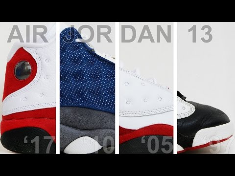 Сравнение Air Jordan 13 Cherry '17 с Flint '10, Cherry low '05, HGG '97