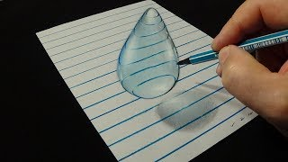 How to Draw 3D Water Drop - 3D Trick Art with Vamos