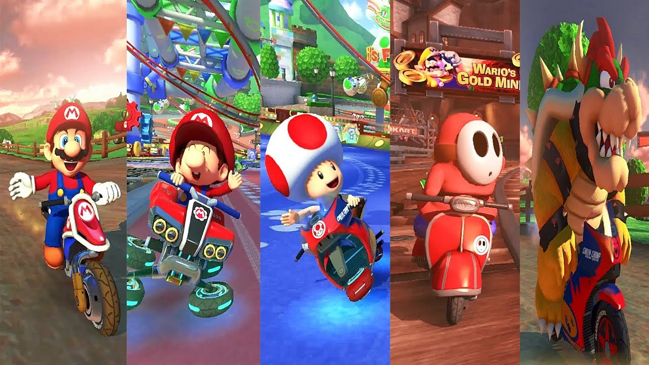 Mario Kart Only Red Characters Mario Baby Mario Shy Guy Bowser Toad