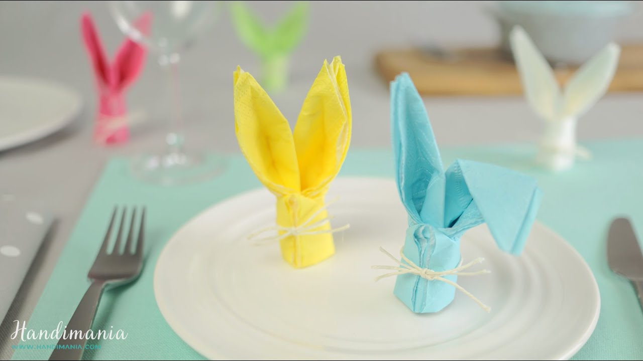 How To Fold A Bunny Napkin Easter Craft Ideas 1 Youtube