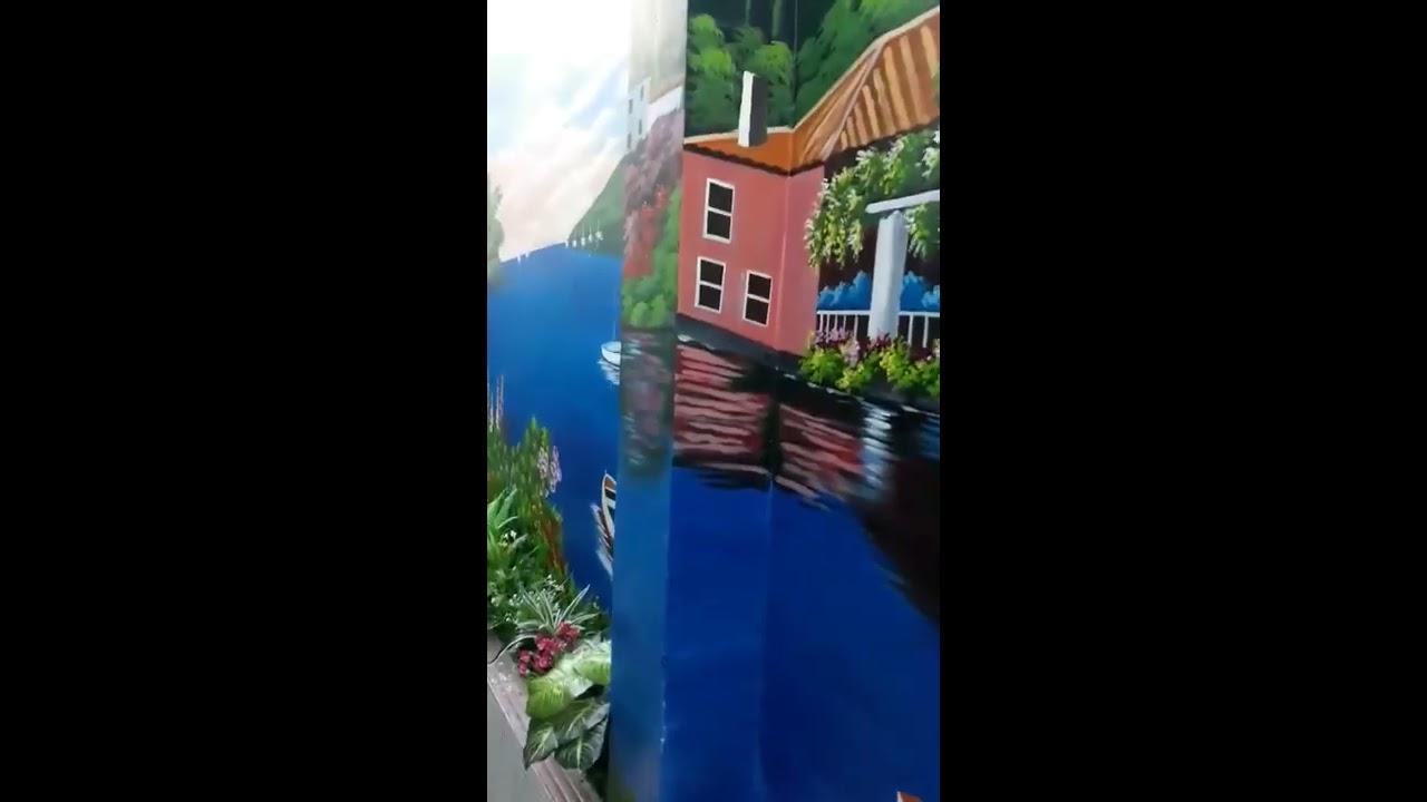 Vẽ tranh tường phong cảnh phố biển châu Âu tại Long Biên, Hà Nội – Vẽ tranh nghệ thuật cực đẹp LH Za