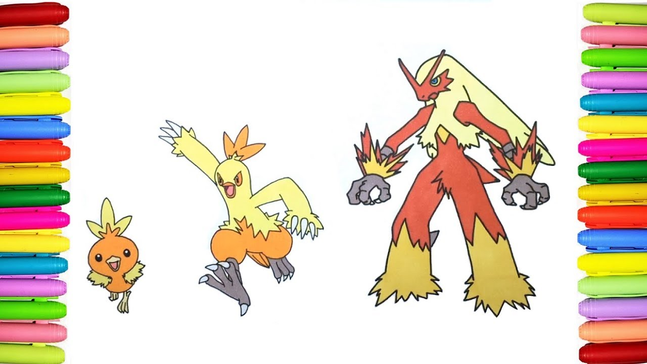 pokemon coloring pages for kids torchic combusken and blaziken