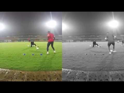 india senior goalkeepers warm up session.(rain)