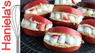 How To Make  Dracula Apple Teeth For Halloween, Peanut Butter Dip Recipe