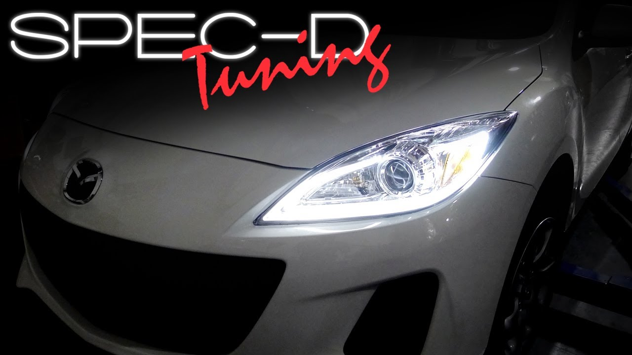 specdtuning installation video: 2010 - 2013 mazda 3 projector headlights -  youtube