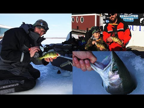 Presque Isle Bay Ice Fishing Tournament Lake Erie Pennsylvania - JUMBO PERCH & HUGE STEELHEAD