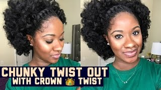 natural hair chunky twist out with crown twist