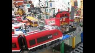 Lego Trains table with spiral ramp