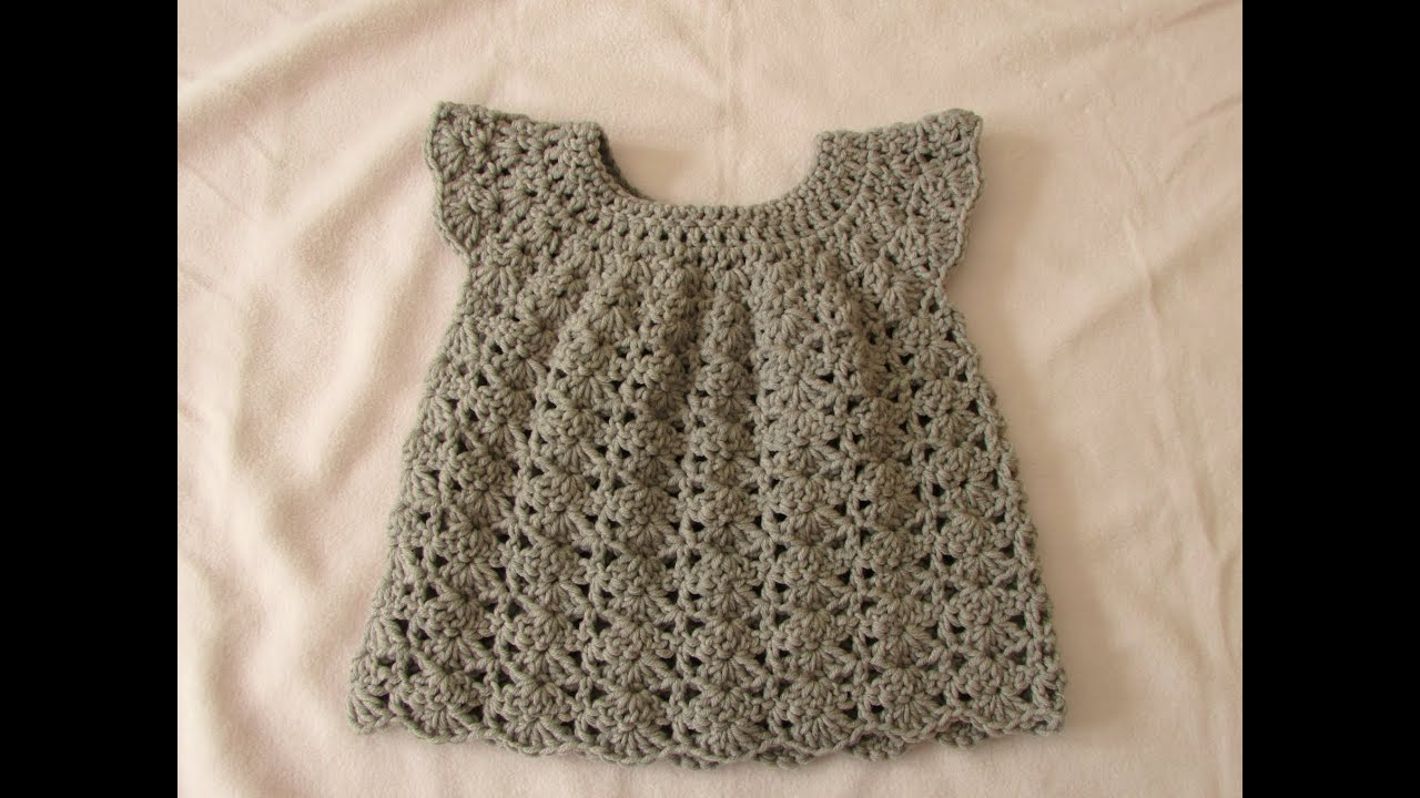 How to crochet an easy shell stitch baby / girls dress for beginners ...