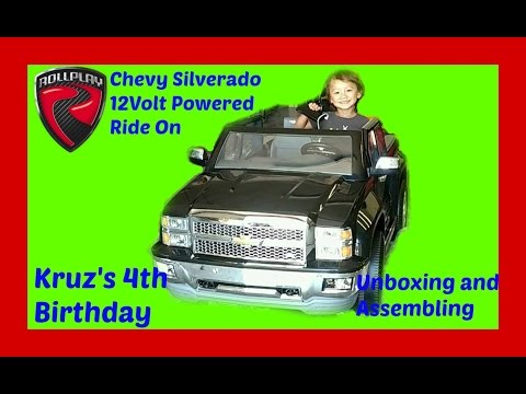 Unboxing And Assembling ROLLPLAY Chevy Silverado 12 Volt Powered Ride On For Kruz's 4th Birthday