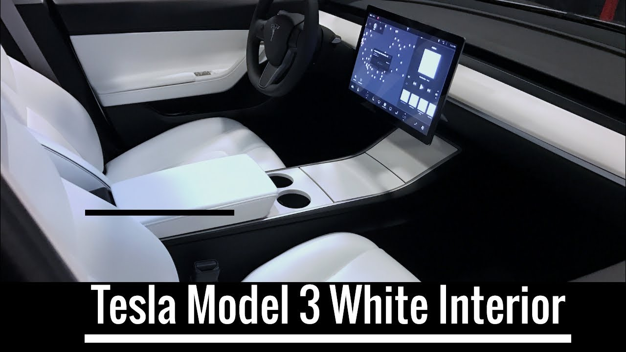 Tesla Model S Interior >> Tesla Model 3 White Interior - YouTube