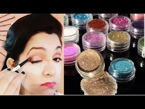 How to apply glitter eyeshadow (Hindi) || Easy STEPS for beginners || Shine with bhavna