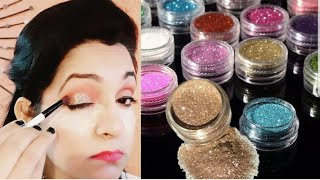 How to apply glitter eyeshadow (Hindi)    Easy STEPS for beginners    Shine with bhavna