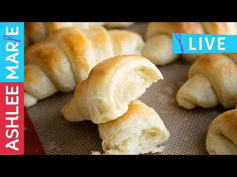 LIVE - How to make easy homemade Crescent rolls - buttery & soft and perfect for Thanksgiving dinner