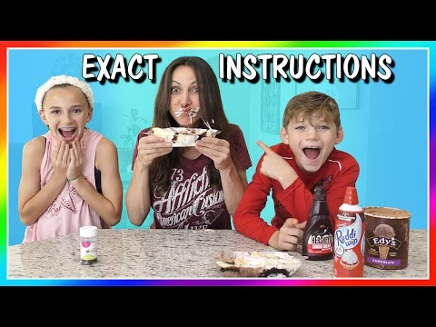 EXACT INSTRUCTIONS CHALLENGE | MAKING A BANANA SPLIT | We Are The Davises
