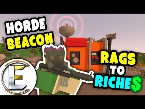Industrial Horde Beacon | Unturned Rags to Riches #11 - Drop's 40 EPIC items! 500 Zombies (Roleplay)